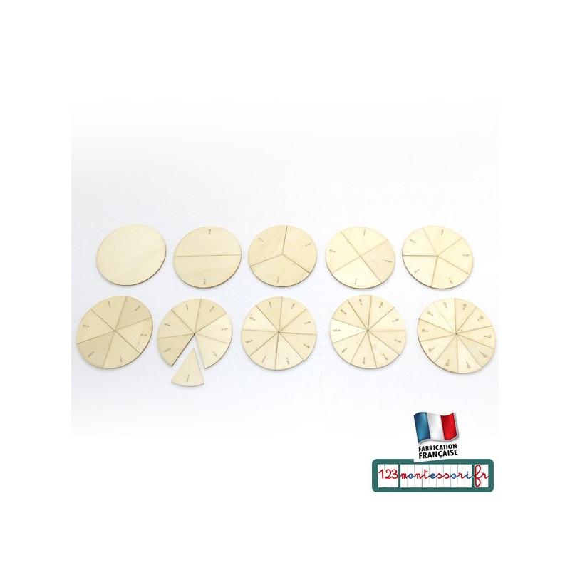 Fractions de cercles en bois gravé