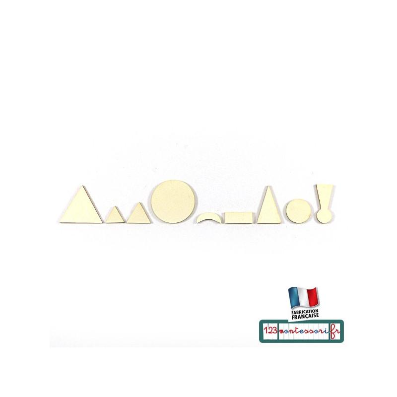 Symboles de grammaire Montessori en bois