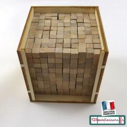 Boite des volumes de 1000 cubes de 1 cm de côté en hêtre