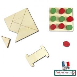 Petits jeux : tangram, support élastique, morpion