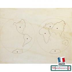 Planisphère, carte Puzzle monde en bois