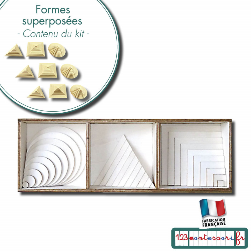 Formes superposées Montessori : 10 formes cercle, carré, triangle