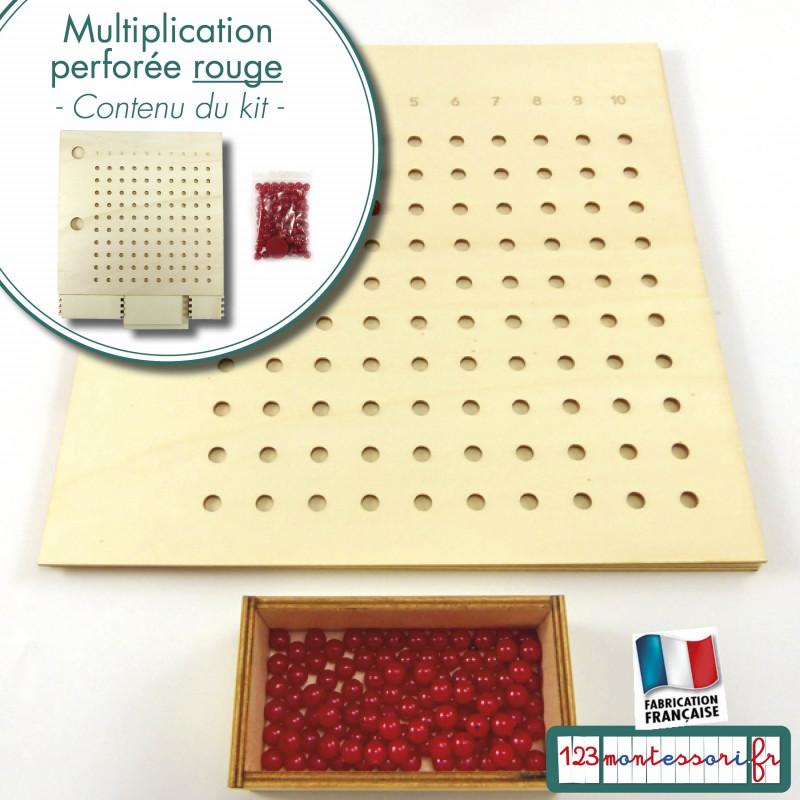 Apprendre les tables de multiplications avec la table de multiplication perforée Montessori