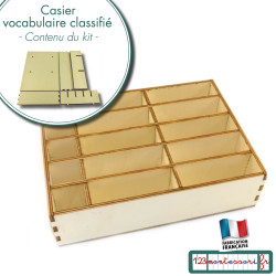 Casier pour vocabulaire classifié (cartes en 3 parties)