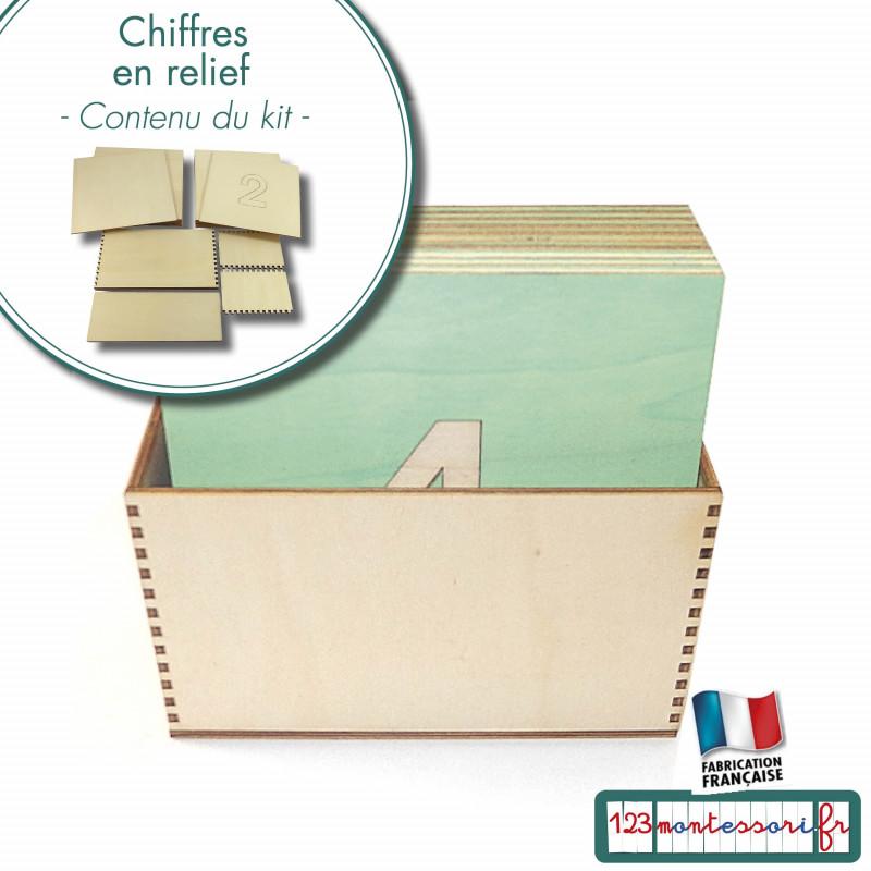 Chiffres rugueux en relief Montessori en kit