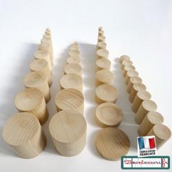 Cylindres de couleur Montessori bruts en hêtre