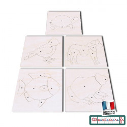 Zoologie 5 puzzles Montessori d'animaux