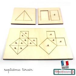 Puzzles Montessori pour le théorême de Pythagore