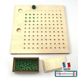 Apprendre les tables de multiplications avec la table de multiplication perforée Montessori
