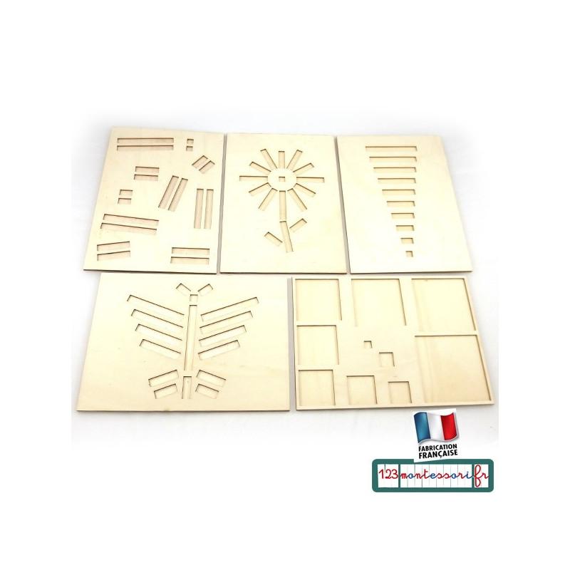 Planche d'encastrement pour réglettes cuisenaire (5 modèles)