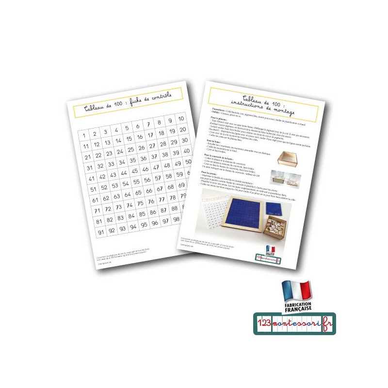 Tableau de 100 en kit (fichier pdf)