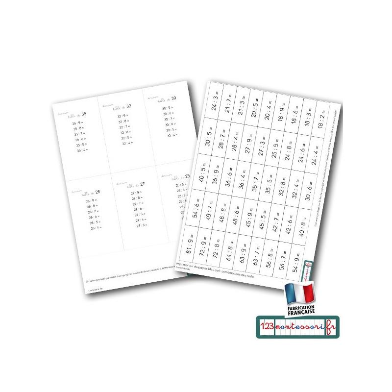 Division Montessori : tickets  et livrets pour la mémorisation (pdf)